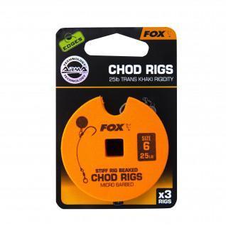 Fox Monofilamento Rigido 25lb Standard Chod Rig Barbed taglia 6